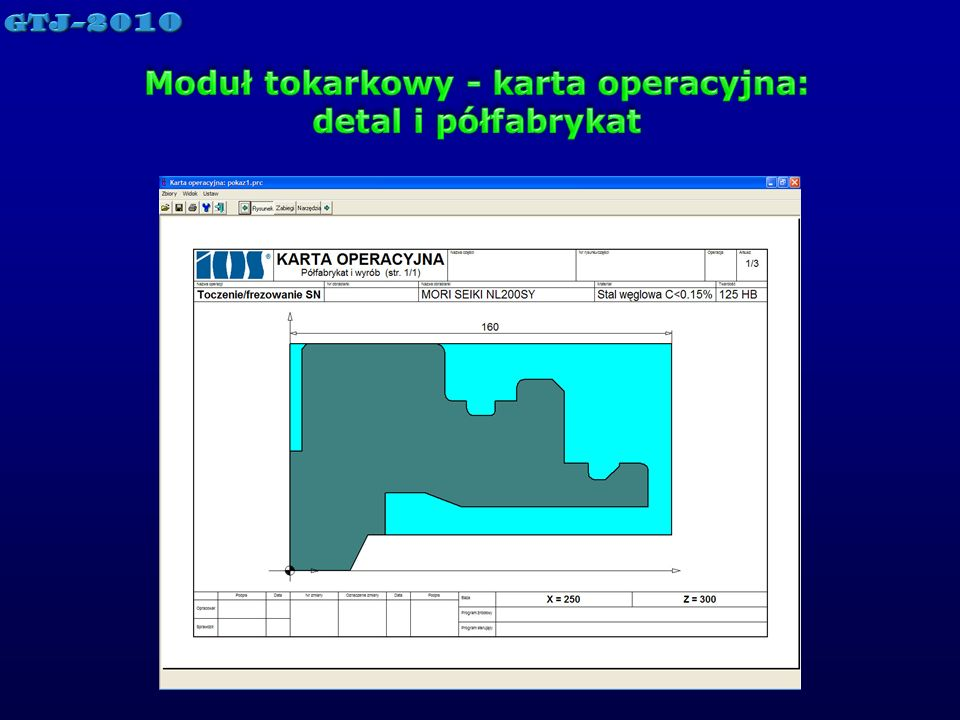 Moduł tokarkowy - karta operacyjna: detal i półfabrykat
