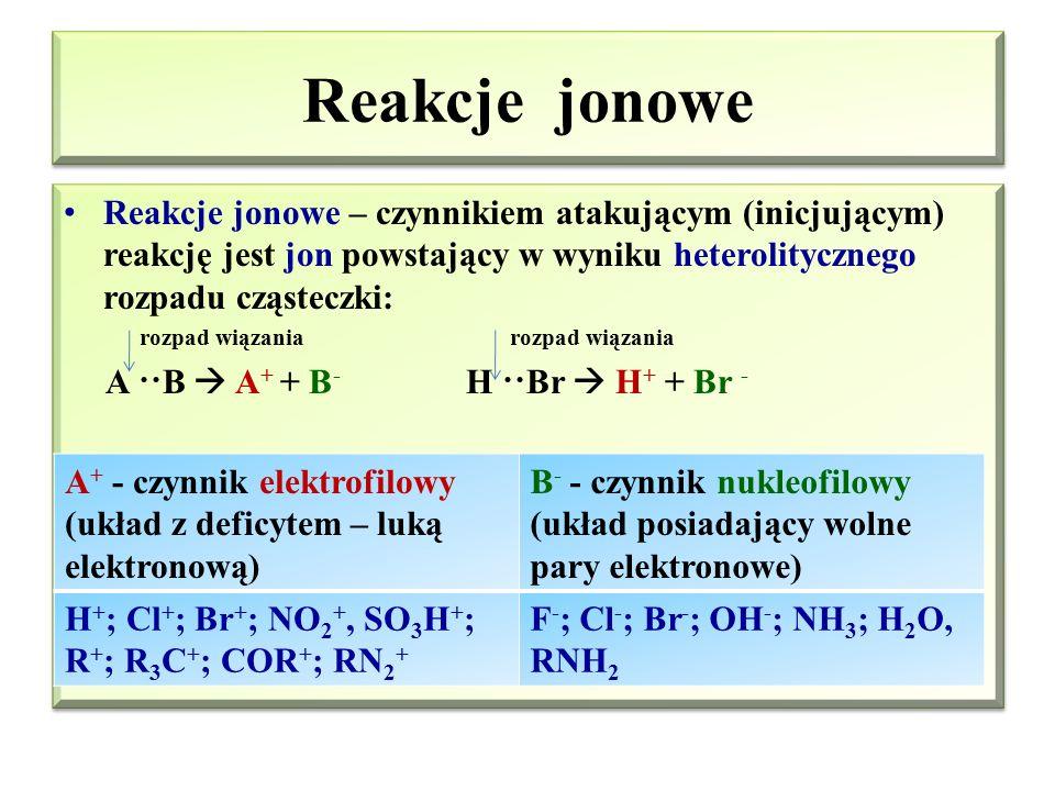 Reakcje jonowe Reakcje jonowe – czynnikiem atakującym (inicjującym) reakcję jest jon powstający w wyniku heterolitycznego rozpadu cząsteczki:
