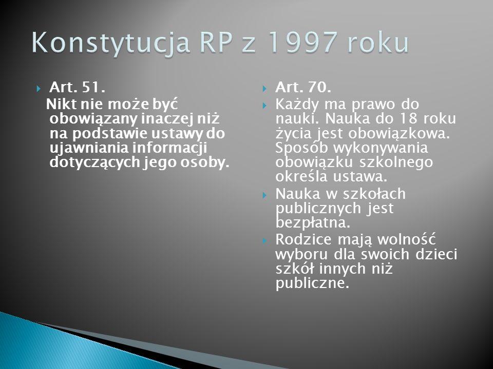 Konstytucja RP z 1997 roku Art. 51.