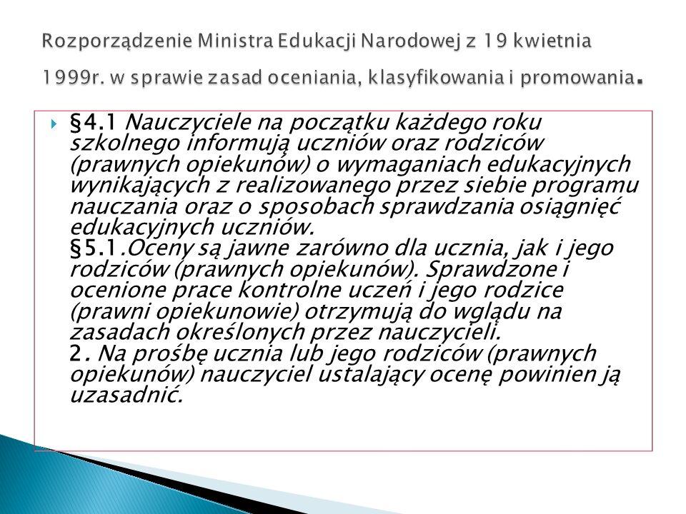 Rozporządzenie Ministra Edukacji Narodowej z 19 kwietnia 1999r