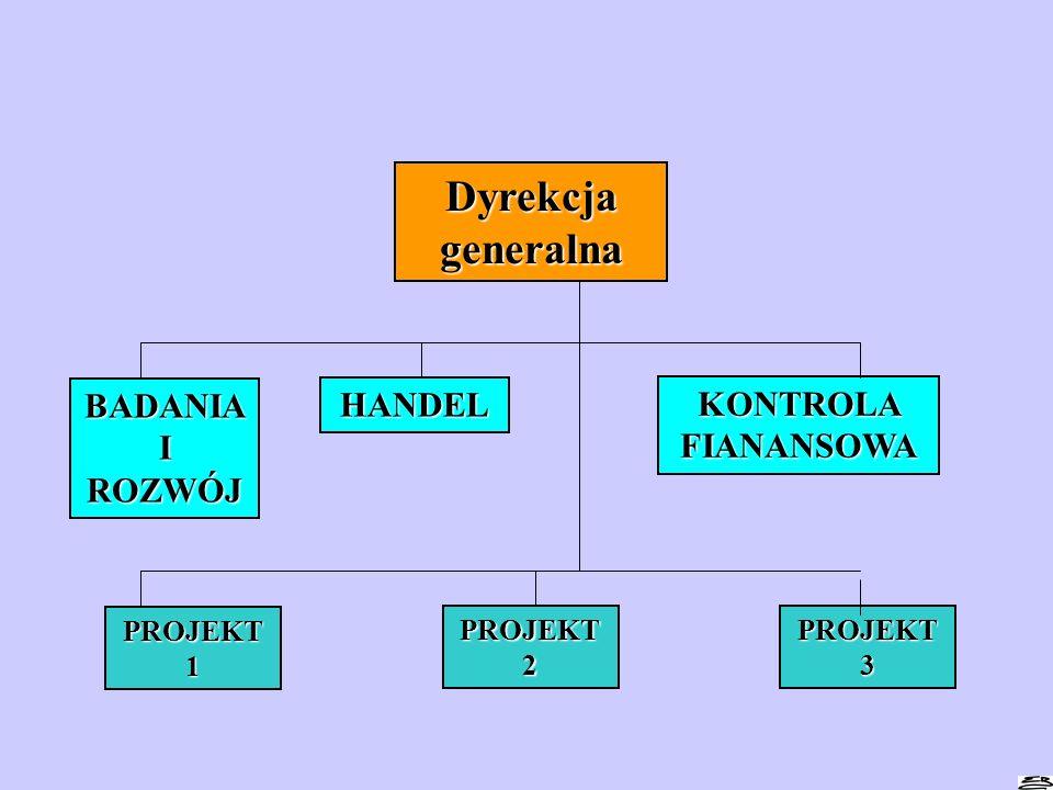 Dyrekcja generalna BADANIA I ROZWÓJ HANDEL KONTROLA FIANANSOWA