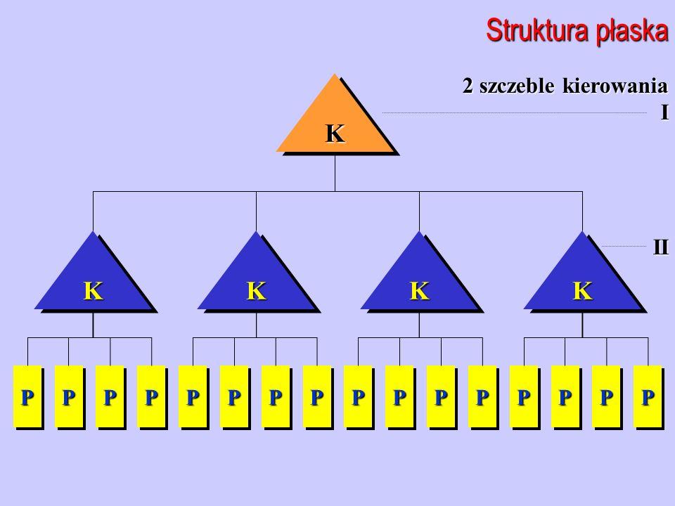 Struktura płaska K K K K K 2 szczeble kierowania I II P P P P P P P P