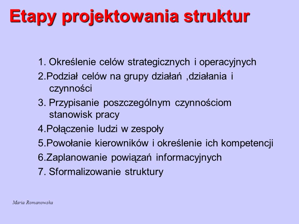 Etapy projektowania struktur