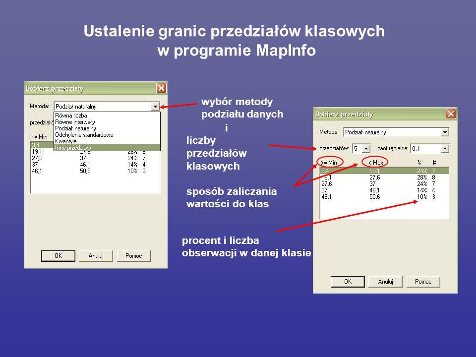 Ustalenie granic przedziałów klasowych w programie MapInfo