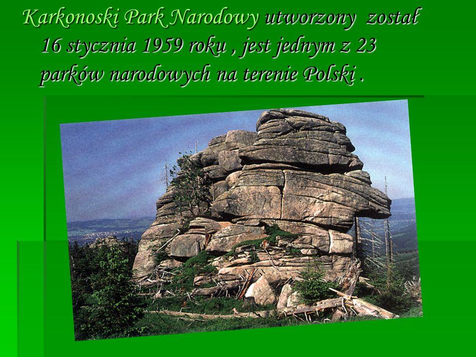 Karkonoski Park Narodowy utworzony został 16 stycznia 1959 roku , jest jednym z 23 parków narodowych na terenie Polski .