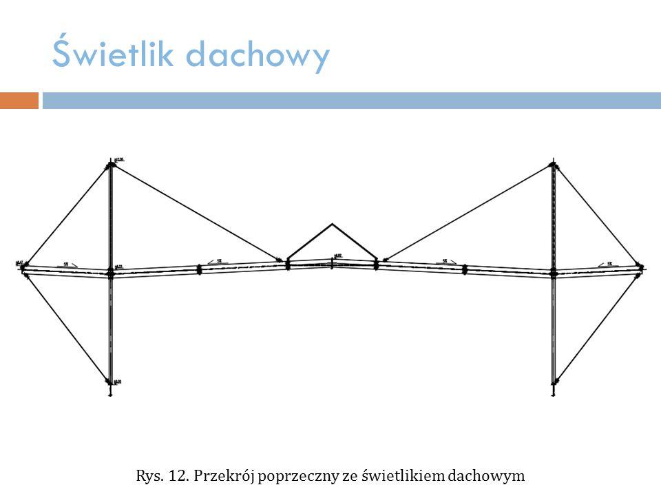 Rys. 12. Przekrój poprzeczny ze świetlikiem dachowym