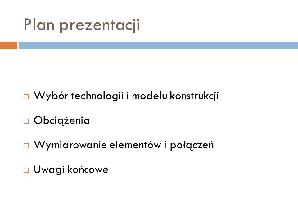 Plan prezentacji Wybór technologii i modelu konstrukcji Obciążenia