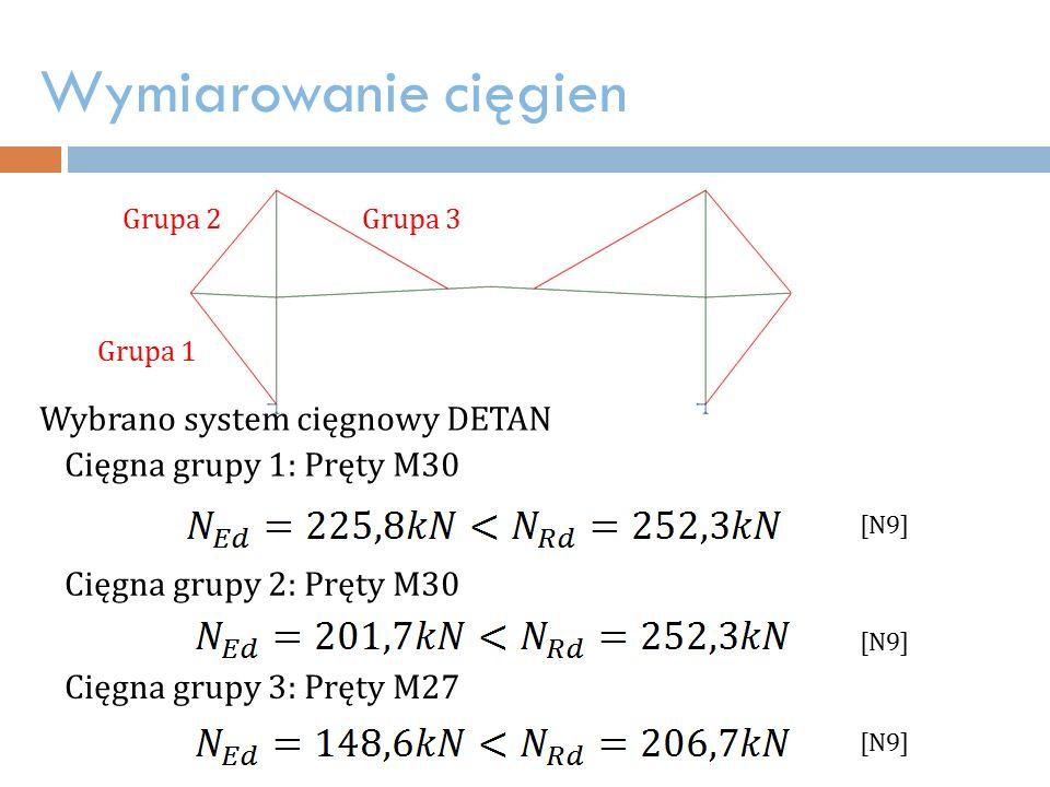 Wymiarowanie cięgien Wybrano system cięgnowy DETAN