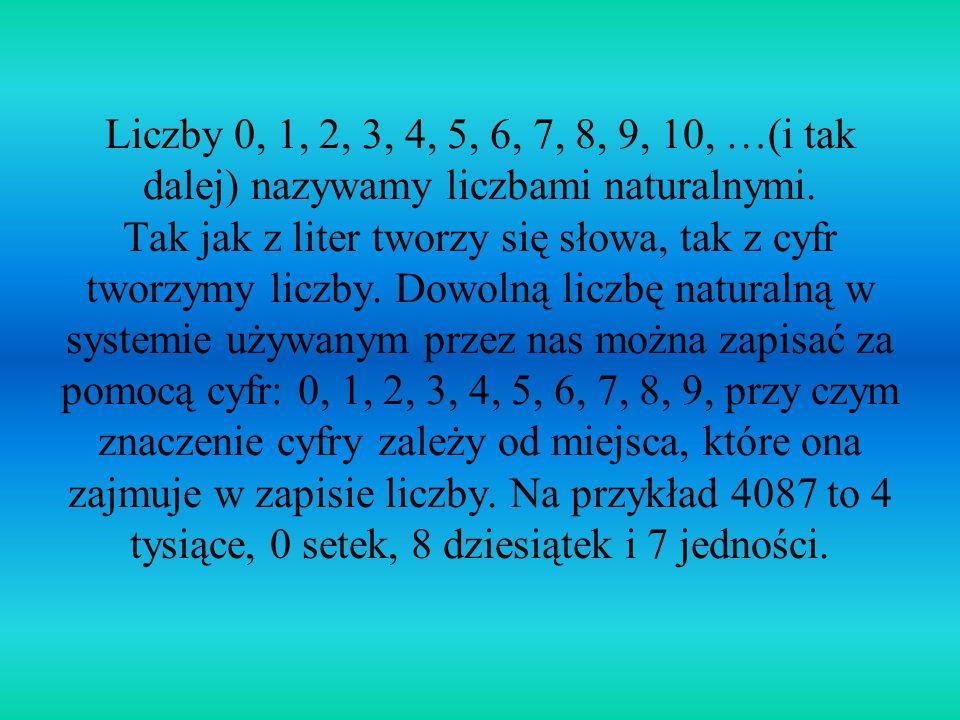 Liczby 0, 1, 2, 3, 4, 5, 6, 7, 8, 9, 10, …(i tak dalej) nazywamy liczbami naturalnymi.