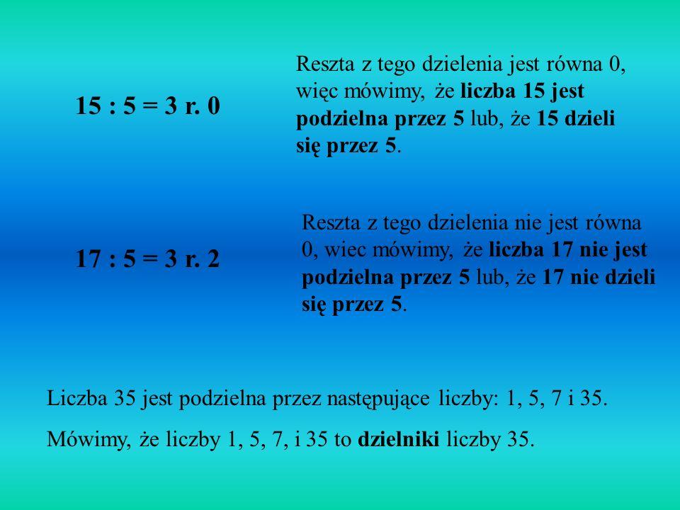Reszta z tego dzielenia jest równa 0, więc mówimy, że liczba 15 jest podzielna przez 5 lub, że 15 dzieli się przez 5.