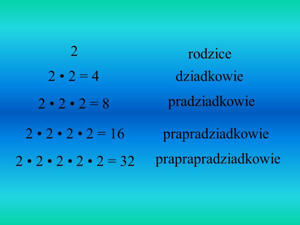 2 rodzice. 2 • 2 = 4. dziadkowie. pradziadkowie. 2 • 2 • 2 = 8. 2 • 2 • 2 • 2 = 16. prapradziadkowie.