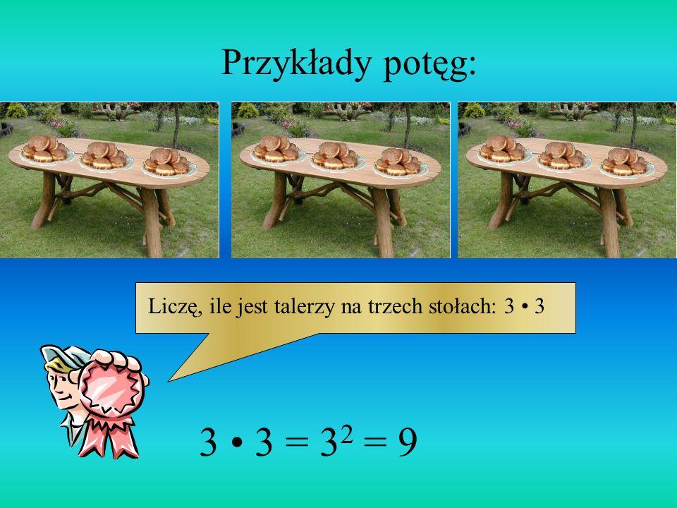 Przykłady potęg: Liczę, ile jest talerzy na trzech stołach: 3 • 3 3 • 3 = 32 = 9