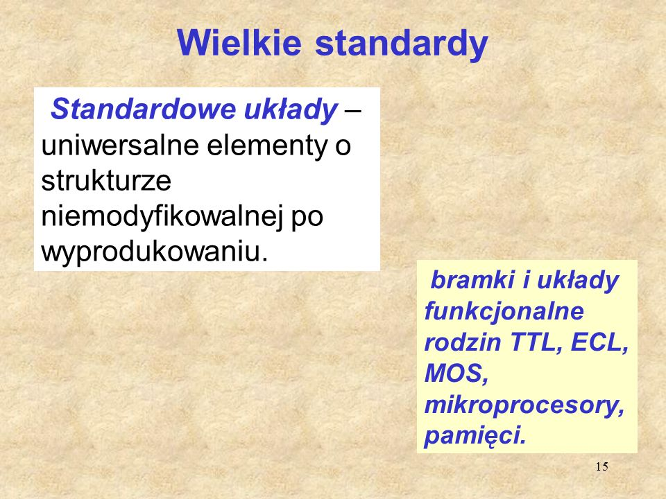 Wielkie standardy Standardowe układy –