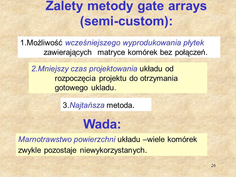 Zalety metody gate arrays (semi-custom):