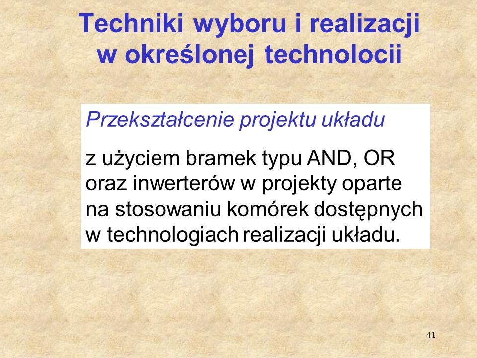 Techniki wyboru i realizacji w określonej technolocii