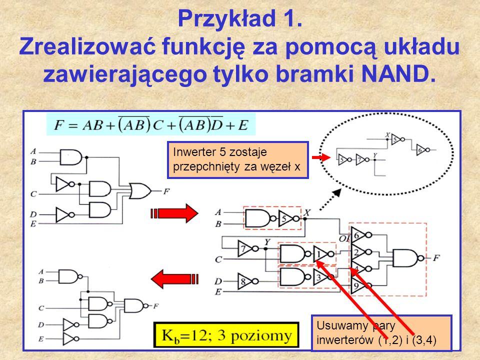 Przykład 1. Zrealizować funkcję za pomocą układu zawierającego tylko bramki NAND.