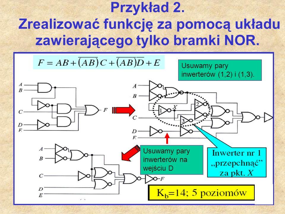 Przykład 2. Zrealizować funkcję za pomocą układu zawierającego tylko bramki NOR.