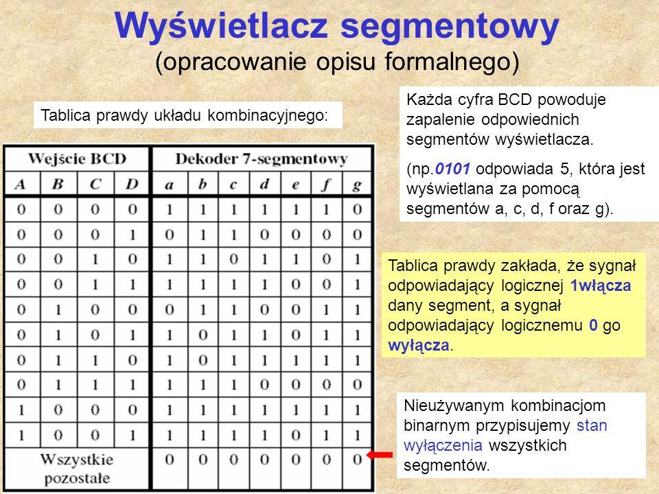 Wyświetlacz segmentowy (opracowanie opisu formalnego)