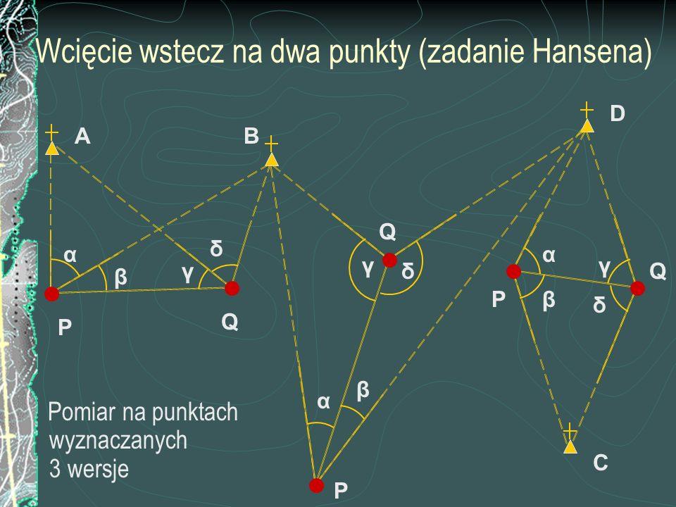 Wcięcie wstecz na dwa punkty (zadanie Hansena)