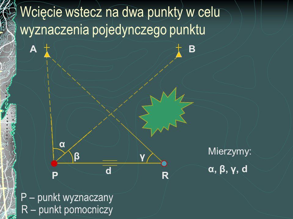 Wcięcie wstecz na dwa punkty w celu wyznaczenia pojedynczego punktu