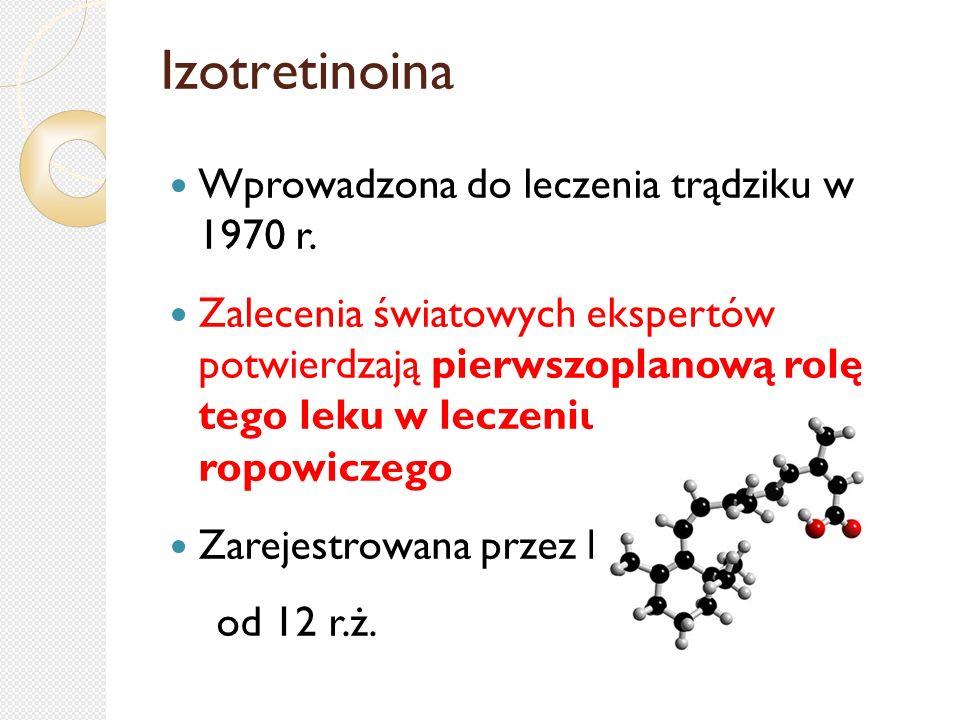Izotretinoina Wprowadzona do leczenia trądziku w 1970 r.
