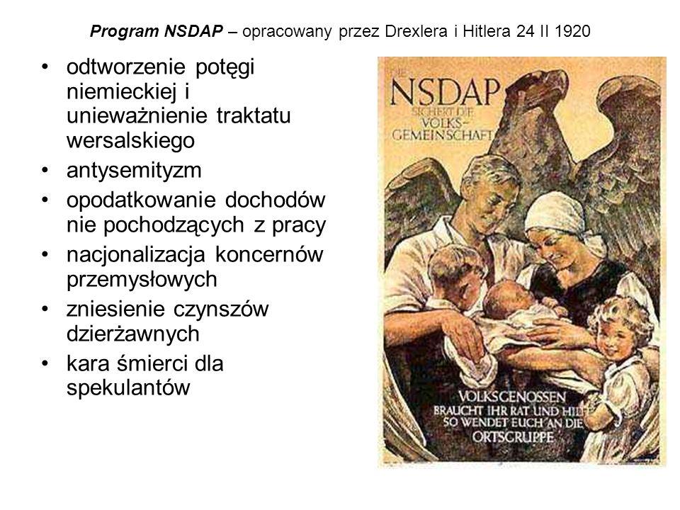 Program NSDAP – opracowany przez Drexlera i Hitlera 24 II 1920