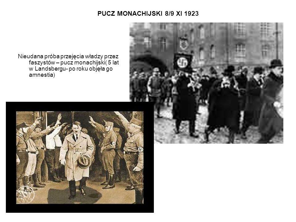 PUCZ MONACHIJSKI 8/9 XI 1923 Nieudana próba przejęcia władzy przez faszystów – pucz monachijski( 5 lat w Landsbergu- po roku objęła go amnestia)
