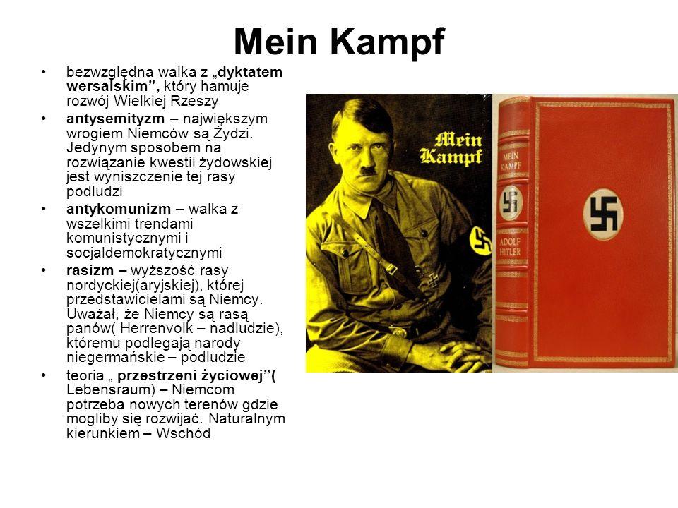 """Mein Kampf bezwzględna walka z """"dyktatem wersalskim , który hamuje rozwój Wielkiej Rzeszy."""