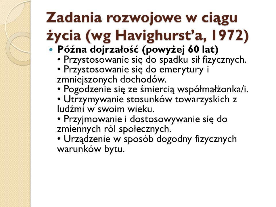 Zadania rozwojowe w ciągu życia (wg Havighurst'a, 1972)