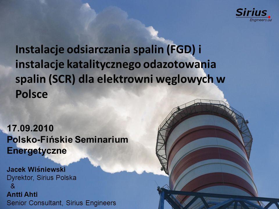 Instalacje odsiarczania spalin (FGD) i instalacje katalitycznego odazotowania spalin (SCR) dla elektrowni węglowych w Polsce