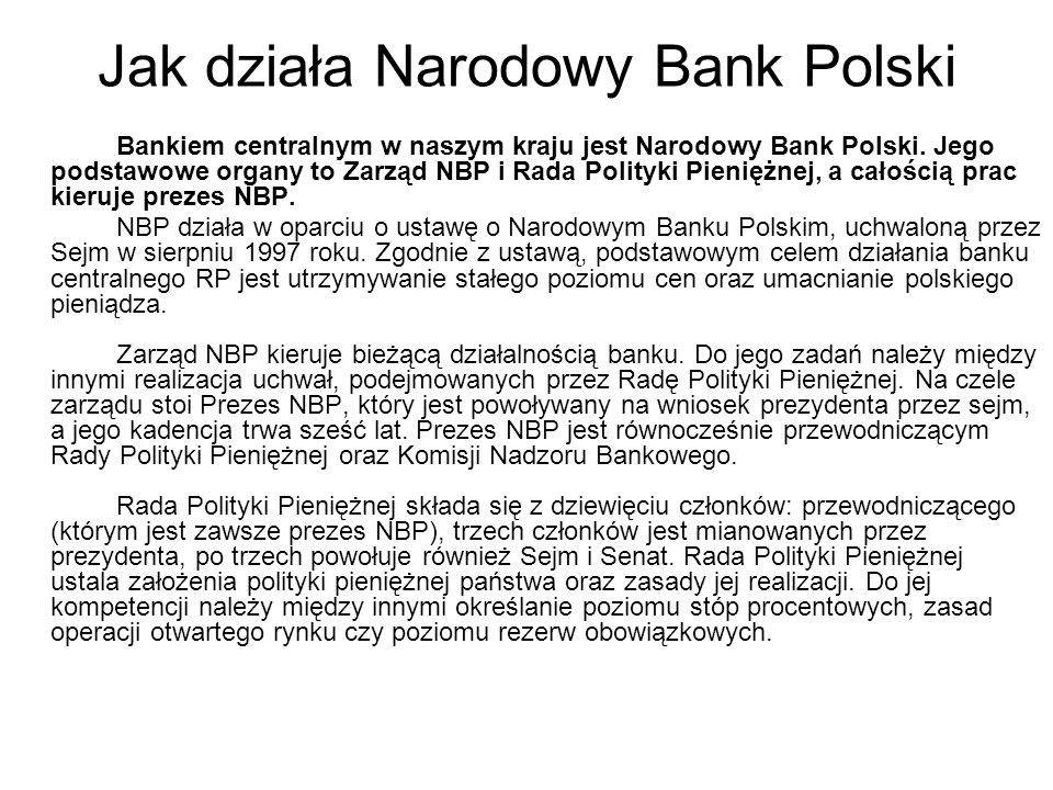 Jak działa Narodowy Bank Polski