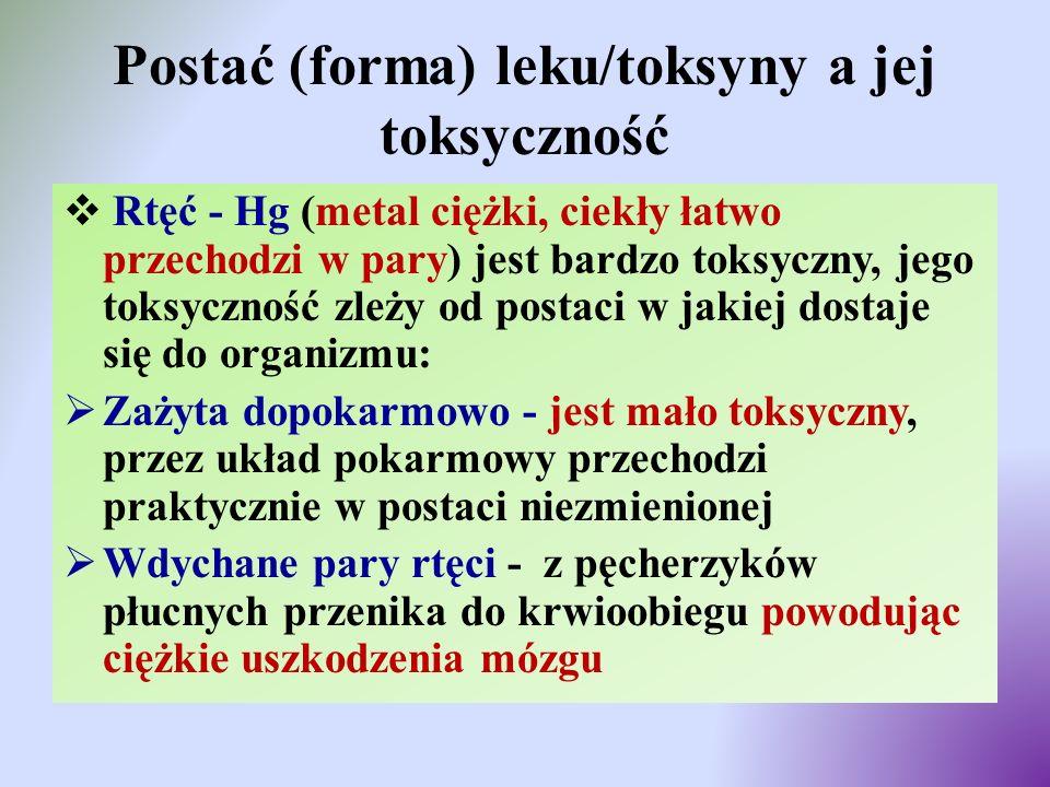 Postać (forma) leku/toksyny a jej toksyczność