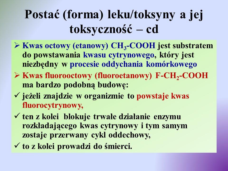 Postać (forma) leku/toksyny a jej toksyczność – cd