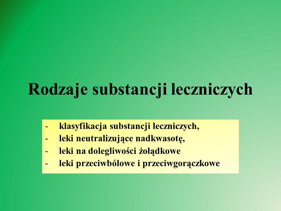 Rodzaje substancji leczniczych