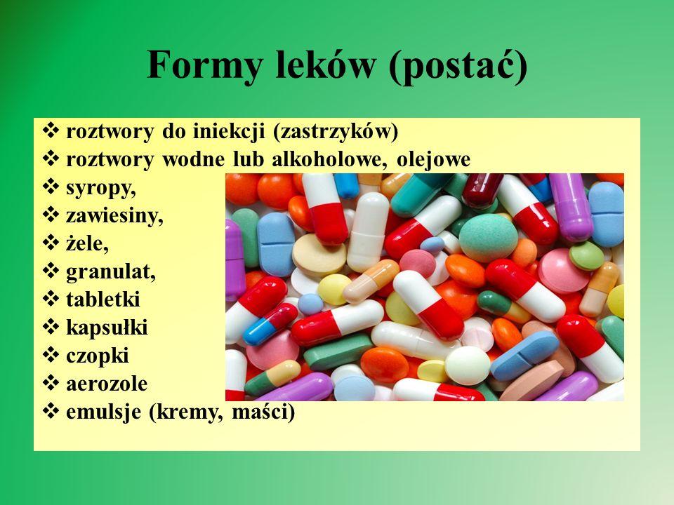 Formy leków (postać) roztwory do iniekcji (zastrzyków)