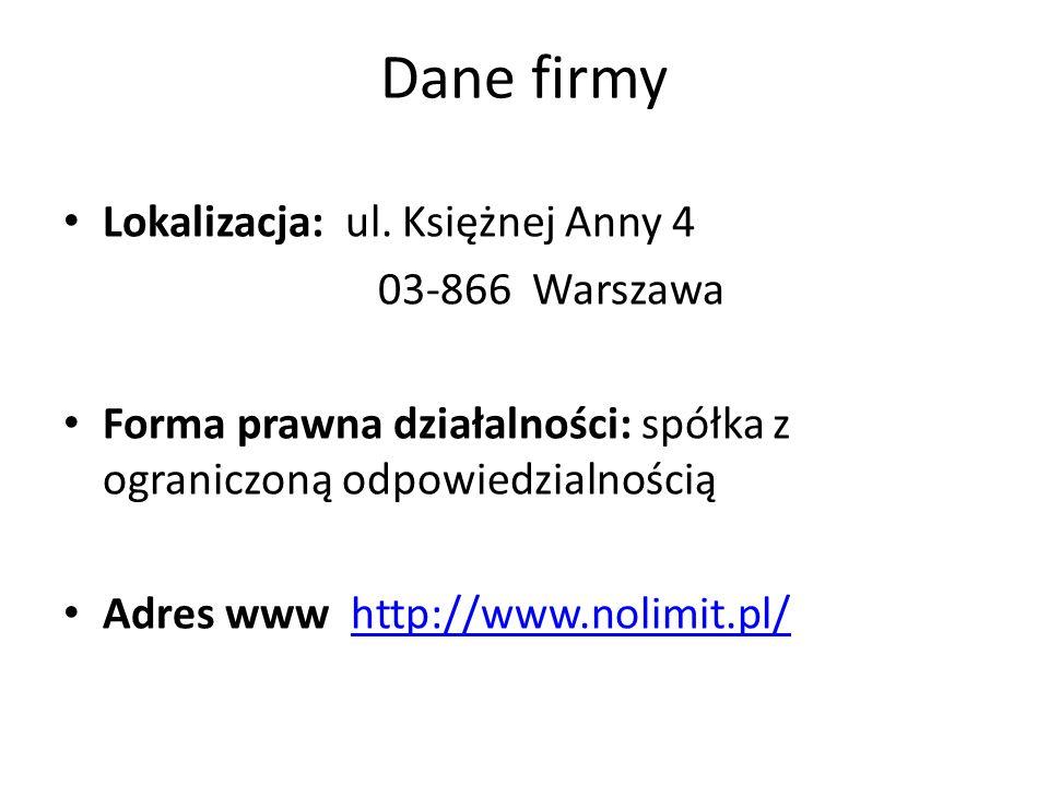 Dane firmy Lokalizacja: ul. Księżnej Anny 4 03-866 Warszawa