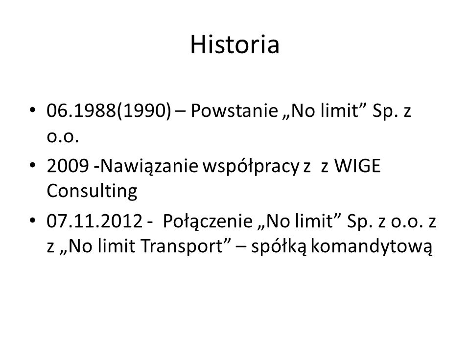 """Historia 06.1988(1990) – Powstanie """"No limit Sp. z o.o."""