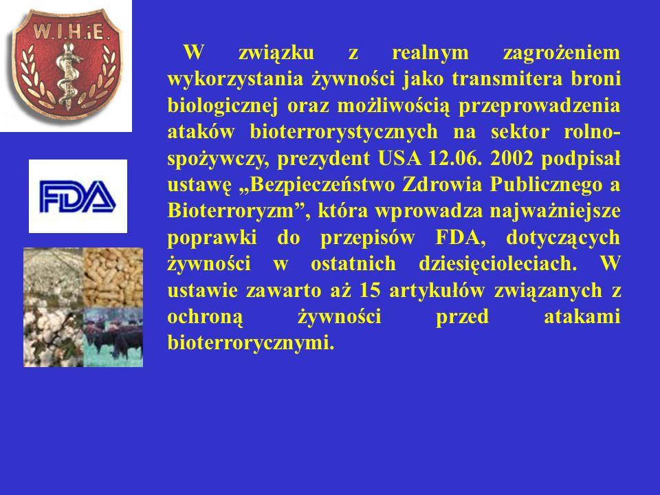 W związku z realnym zagrożeniem wykorzystania żywności jako transmitera broni biologicznej oraz możliwością przeprowadzenia ataków bioterrorystycznych na sektor rolno-spożywczy, prezydent USA 12.06.