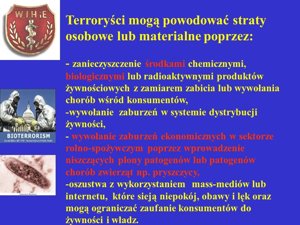 Terroryści mogą powodować straty osobowe lub materialne poprzez: