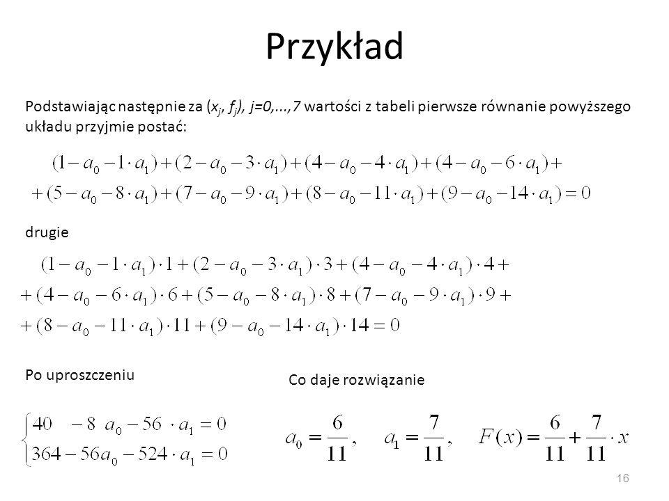 Przykład Podstawiając następnie za (xj, fj), j=0,...,7 wartości z tabeli pierwsze równanie powyższego układu przyjmie postać: