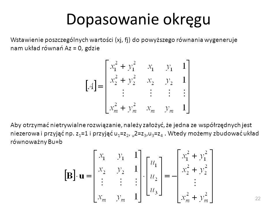 Dopasowanie okręgu Wstawienie poszczególnych wartości (xj, fj) do powyższego równania wygeneruje nam układ równań Az = 0, gdzie.