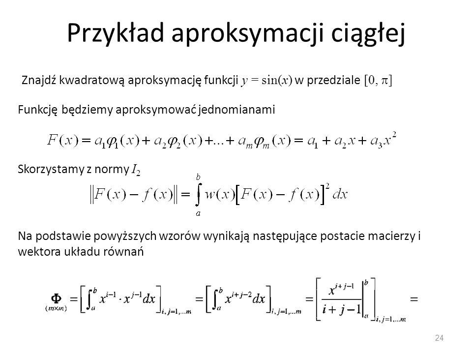 Przykład aproksymacji ciągłej