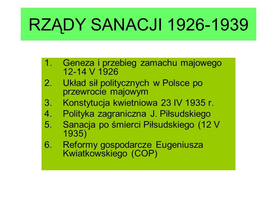 RZĄDY SANACJI 1926-1939 Geneza i przebieg zamachu majowego 12-14 V 1926. Układ sił politycznych w Polsce po przewrocie majowym.