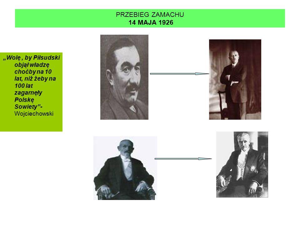 """PRZEBIEG ZAMACHU 14 MAJA 1926 """"Wolę , by Piłsudski objął władzę choćby na 10 lat, niż żeby na 100 lat zagarnęły Polskę Sowiety - Wojciechowski."""