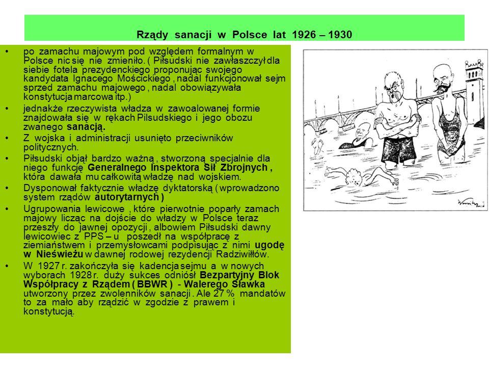 Rządy sanacji w Polsce lat 1926 – 1930