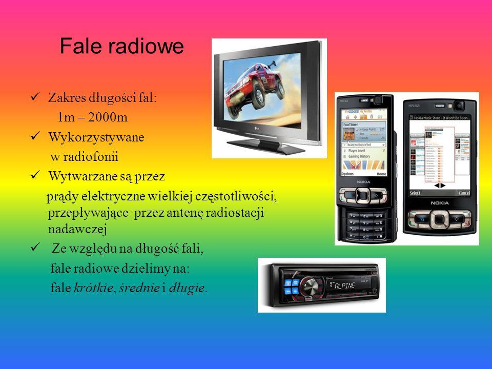 Fale radiowe Zakres długości fal: 1m – 2000m Wykorzystywane