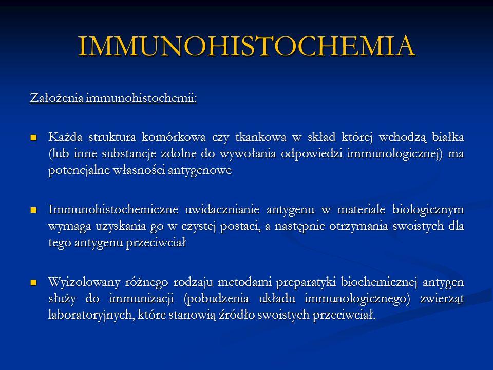 IMMUNOHISTOCHEMIA Założenia immunohistochemii: