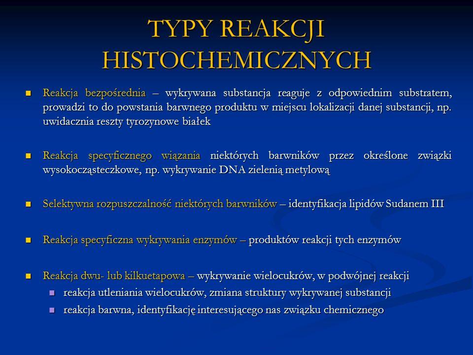 TYPY REAKCJI HISTOCHEMICZNYCH