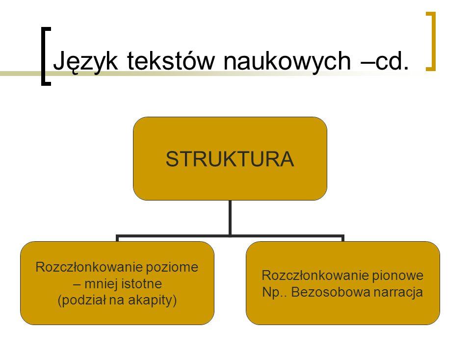 Język tekstów naukowych –cd.