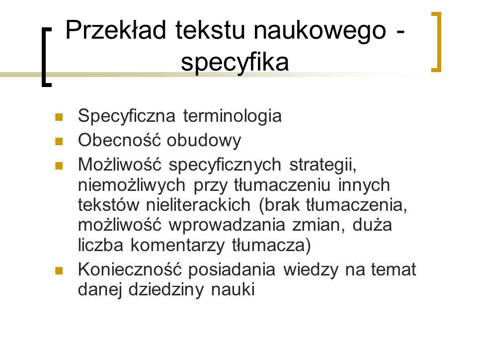 Przekład tekstu naukowego - specyfika